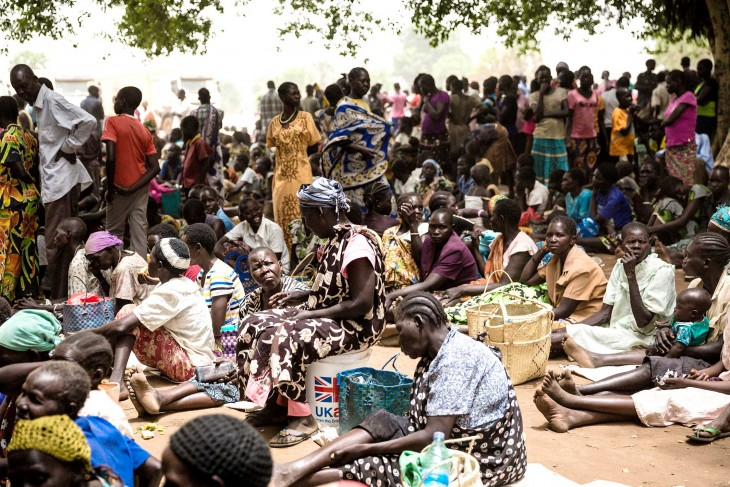 South Sudan people waiting to receive seeds and food assistance.