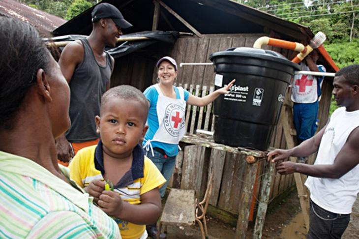 One of the 103 water tanks that the ICRC supplied to the village of Tamaje, Colombia