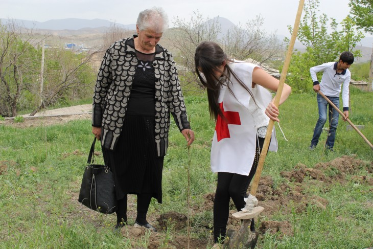 Vedi, Armenia. Lida Mkrtumyan left her sick husband at home so she could come and plant a tree in memory of her missing son.