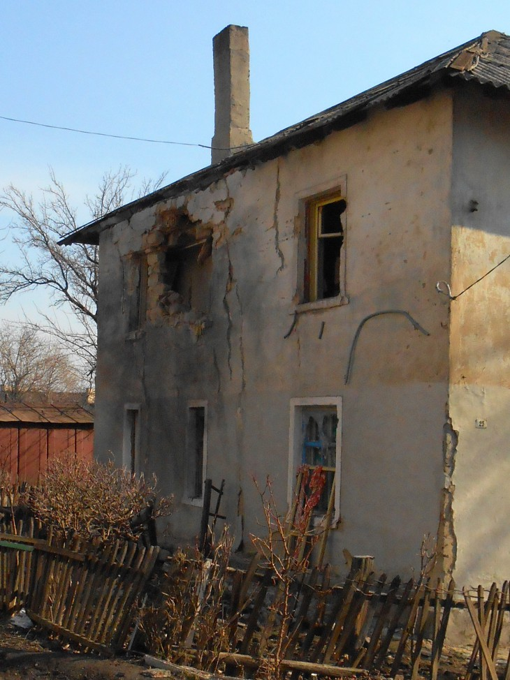 Donetskiy, Ukraine. A house badly damaged during the recent fighting.