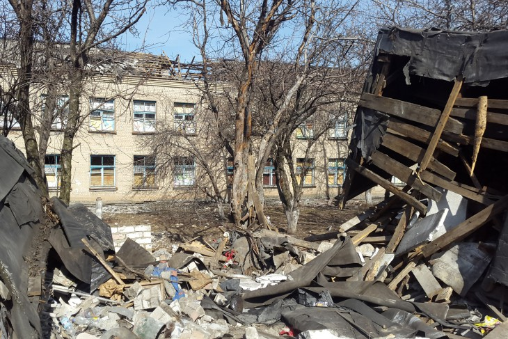 Novotoshkivka, Lugansk region, Ukraine. Houses and social facilities destroyed in the fighting.