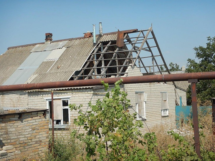 One of the many houses damaged in the fighting that has wracked eastern Ukraine.