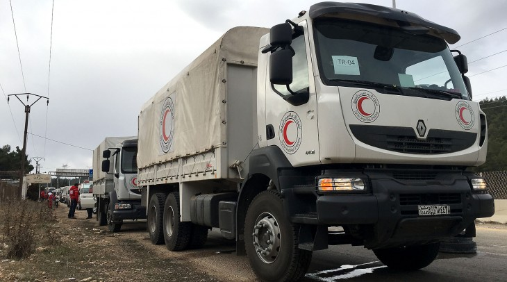 Convoy delivering relief to Syrian people in Madaya