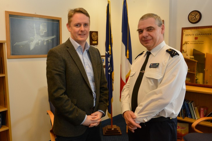 ICRC UK & Ireland spokesperson Matthew Morris meets vice admiral Bruno Paulmier, deputy commander allied maritime command, NATO.