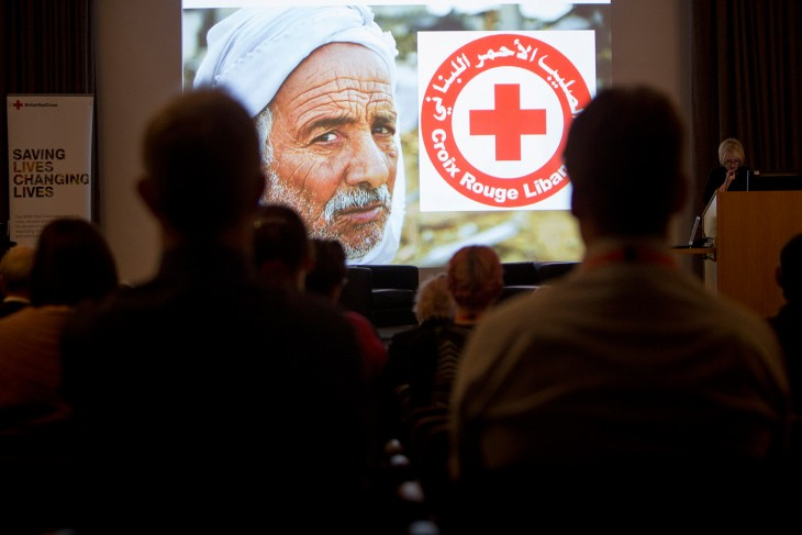 Participants watch a presentation on the work of the Lebanese Red Cross.