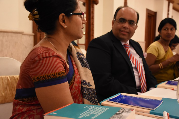 A participant from Sri Lanka and India engage in discussion at the 2nd Regional Legislative Drafting Workshop on International Humanitarian Law in Colombo, Sri Lanka.
