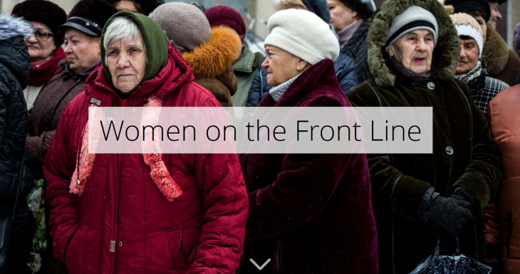 Women in eastern Ukraine at the aid distribution