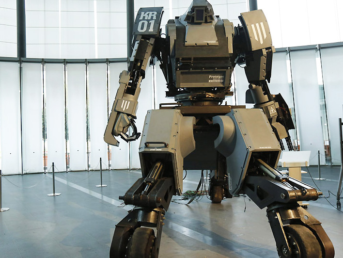 An autonomous weapon in the form of a robot