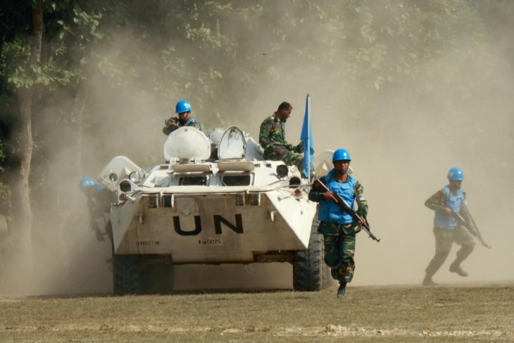 Bangladesh Institute of Peace Support Operation Training (BIPSOT), simulation exercise. Bangladeshi UN peacekeepers are taking position around an internally displaced persons camp. 16th Annual Conference of the International Association of Peacekeeping Training Centres (IAPTC)